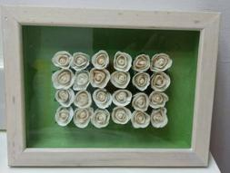 24 WHITE SILK ROSES SHADOW BOX》Wall Hanging or Tabletop》