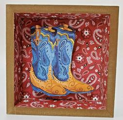 The Pioneer Woman Cowboy Decor Boot Shadow Box Sign.  Red Ba