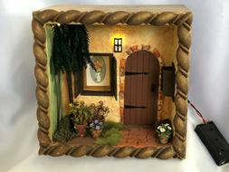 Dollhouse Miniature OOAK Shadow Box Lighed Front Door House