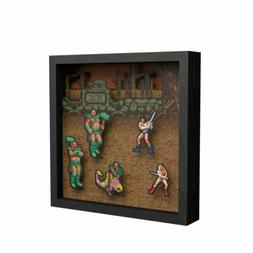 Golden Axe Pixel Frame – 9x9in. Decorative Shadow Box for