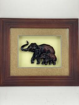 Hand Carved Wooden Elephant 3D Shadow Box Home Wall Decor Fr