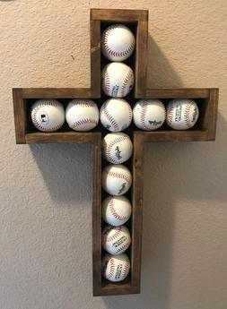 Large Hand-crafted Wooden Shadow Box Cross for Baseball's Wa