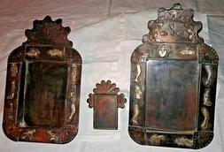 Lot B of 3 Mexican Tin Folk Art Shadow Boxes / Frames with M