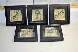 Lot of 5 Vintage Framed Iron Keys in wood Shadow Boxes