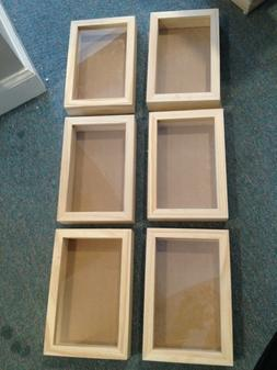 """LOT OF 6 Shadow box Frame 9"""" x 6"""" Darice Plastic Unfinished"""