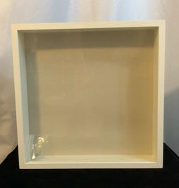 Pottery Barn White Wood Gallery Shadowbox 3D Frame 12.5 x 12